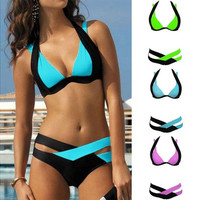 2017 Fashion Women Swimwears Swimsuit Fit Slim Casual Mixed Color Cross Bathing Suit Halter Padded Sexy Brazilian Bikini Set [10572405524]