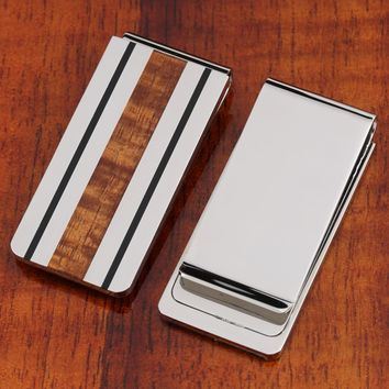 Fancy original Hawaii Koa Wood Inlaid Stainless Steel Made Money Clip