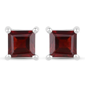 Natural 1.66TCW Princess Cut Red Garnet Stud Earrings