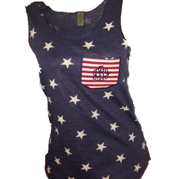 SALE!! CUSTOM Monogram Star Pocket Tank -- Perfect for 4th of July