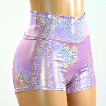 High Waist Lilac Purple Holographic Shorts