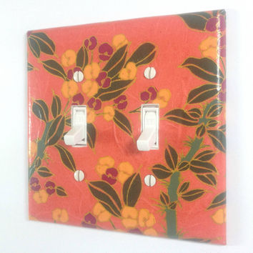 Orange Flower Switch Plate - Double Toggle