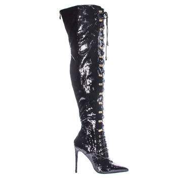 Ecstasy Black By Liliana, Military Combat Corset Lace Up Mesh Glitter Over Knee, High Heel Dress Boot