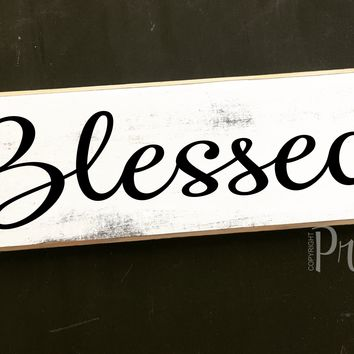 12x4 Blessed Wood Sign