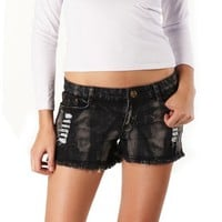 Jessie G. Women's Low Rise Destructed Denim Frayed Short Shorts