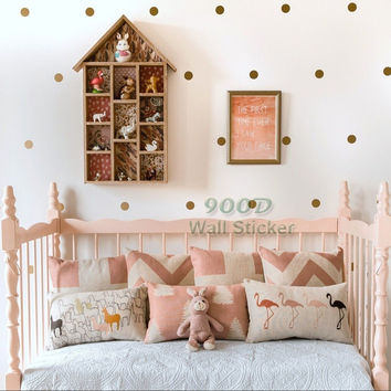 Gold polka Dots Wall Sticker Removable home decoration art Wall Decals Free Shipping