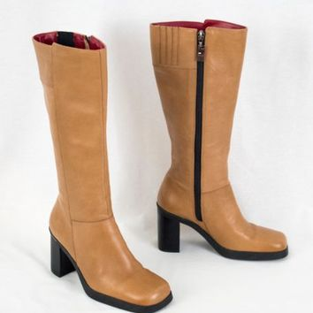 Tommy Hilfiger Tall Leather Boots High Heel Zip Up Square Toe Tan  6 M  Brazil