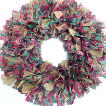 Small Rag Wreath Christmas Red Green Homespun Fabric Burlap 14""