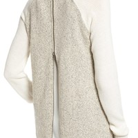 Ten Sixty Sherman Zip Back Mixed Knit Sweater | Nordstrom