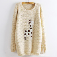 CUTE GIRAFFE SLIM THIN SWEATER PULLOVER BBIDF from MegaFashion