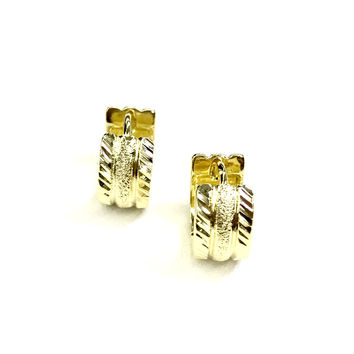 Hammered Center Gold Plated Huggies Earrings