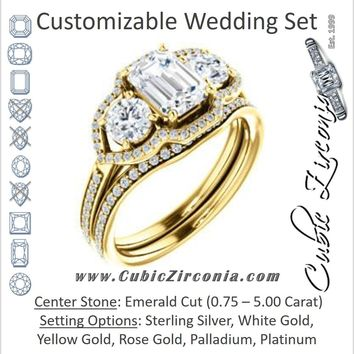 CZ Wedding Set, featuring The Lizabeth engagement ring (Customizable Emerald Cut Enhanced 3-stone Style with Tri-Halos & Thin Pavé Band)