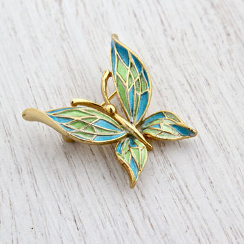 Vintage Butterfly Brooch - Gold Tone Signed Lisner Blue & Green Enamel Costume Jewelry Pin / Designer Flutter