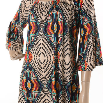 Voll Beige Tunic Top with Colorful Aztec Design