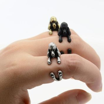 Fei Ye Paw Vintage Silver French Poodle Puppy Animal Wrap Ring Men Jewelry Anillos Boho Chic Dog adjustable Rings For Women Anel