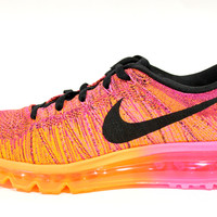 Nike Women's Flyknit Max Pink/Orange/Black Running Shoes 620659 800