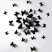 Red 24PCS 3D Butterfly Wall Stickers Decor Art Decorations 3 size