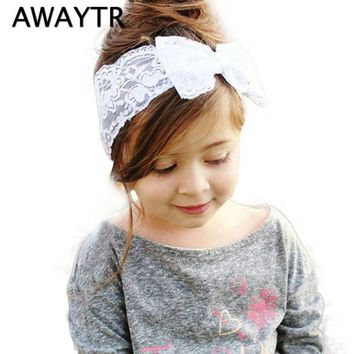 Baby Girl Lace Hairband Elastic Headbands Lovely Princess Bowknot Headwear Big Bow Hair Accessories White Yellow Purple