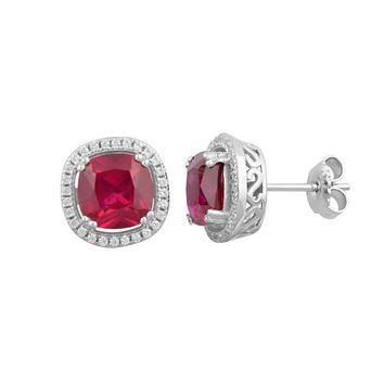 Sterling Silver Simulated Ruby Fancy stud earrings