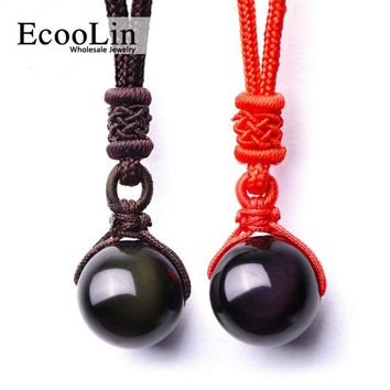 Necklaces & Pendants Natural Stone For Women and Men  Black Obsidian Rainbow Eye Beads Ball Transfer Good Lucky Love Energy Gift