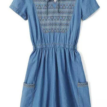 Blue Short Sleeve with Geometric Embroidery Pleated Denim Mini Dress