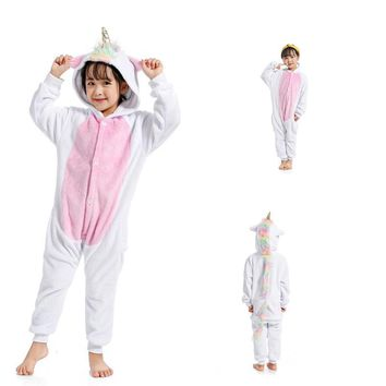 Cool Colorful Star Unicorn Pajamas Children Kids Animal Flannel Anime Cartoon Costumes Sleepwear Cosplay Onesuit Panda ChristmasAT_93_12