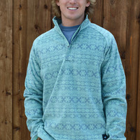 Southern Marsh Monmouth Flurry Fleece 1/4 Zip Pullover- Slate and Mint