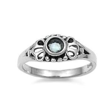Sterling Silver Filigree Round CZ Aquamarine 5MM CZ Petite Rings