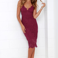 Keepsake Interlude Berry Red Lace Midi Dress