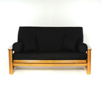 LS COVERS BLACK FULL FUTON COVER, Full Size Fits 6-8in Mattress, 54 x 75 Inch