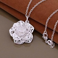 ON SALE - Silver Lotus Flower Necklace