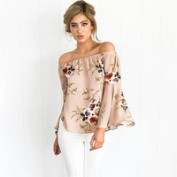 Women Blouse Shirt With Sleeves Off Shoulder Floral Print Chiffon Blouse Flare Sleeves Women Blouses Tops