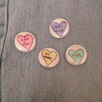 Passive Aggressive Heart Hand-Drawn Button Badge Pin Set