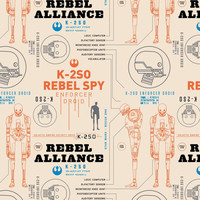 "Star Wars Fabric: Star Wars Rogue One - K-2S0 K2SO in Rebel base on Cream by Camelot  100% cotton fabric by the yard 36""x43"" (A386)"