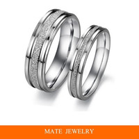 New pave pearl sand titanium steel rings Engagement&Wedding /Anniversary//Promise/Couple/Lovers ring for Best Romantic Gift