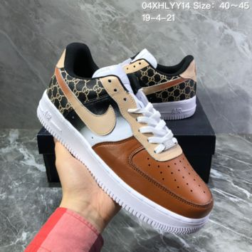 hcxx N1546 Nike Air Force 1 GUCCI x AF1 Leather Montage Skateboard Shoes Brown Black