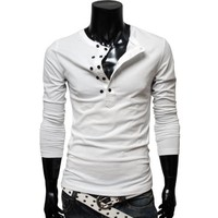 TheLees Men's Slim fit 2 Tone V-neck TShirt
