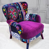 Patchwork armchair with Suzani fabrics