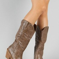 Cow-31 Embroidered Cowboy Knee High Boot