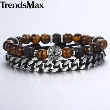 Tiger Eye Stone Bead Beaded Bracelets Men Stainless Steel Curb Cuban Chain Bracelet.