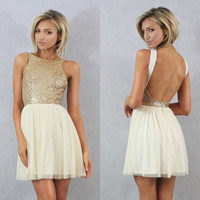Charmming 2015 Hot Fashion Short Prom Dress Chiffon with Top Champagne Gold Sequins Bridesmaid Dresses