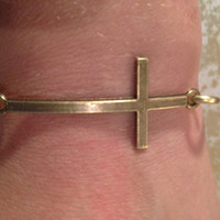 Brass Cross Bangle Bracelet