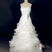Handmade Full A-Line Style Wavy Organza Skirt Wedding Dress - Strapless Organza Wedding Dress  With Delicious Beading Detail