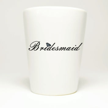 Simple Bridesmaids White Bachelorette Party Shot Glass
