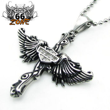 Stainless Steel Crystal Wings Biker Women's Necklace & Pendant (Include the Ball Chain)