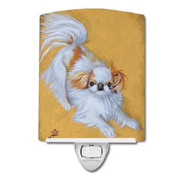 Japanese Chin Red White Play Ceramic Night Light MH1033CNL