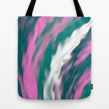 Colorful cold flames abstraction Tote Bag by Natalia Bykova