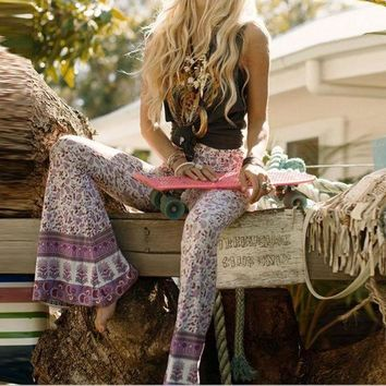 ESB8H2 Boho Bell Bottom Pants 'Gypsy Love' Lilac Bells Purple & Pink Print Hippie Bellbottoms Size Small Medium Or Large