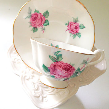 English Bone China Tea Cup and Saucer Roses Pattern Avon Shape Tea Soiree
