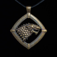 House Stark Direwolf Pendant, Game of Thrones, brass, handmade ..... House Stark Pendant, Game of Thrones Pendant